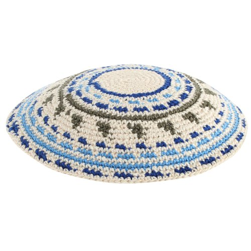 Blue, Green and Beige DMC Knitted Kippah