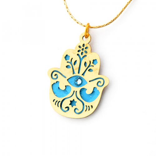 Blue Hamsa Necklace to Ward off the Evil Eye by Ester Shahaf
