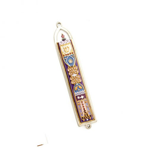 Blue Oriental Design Pewter Mezuzah by Ester Shahaf