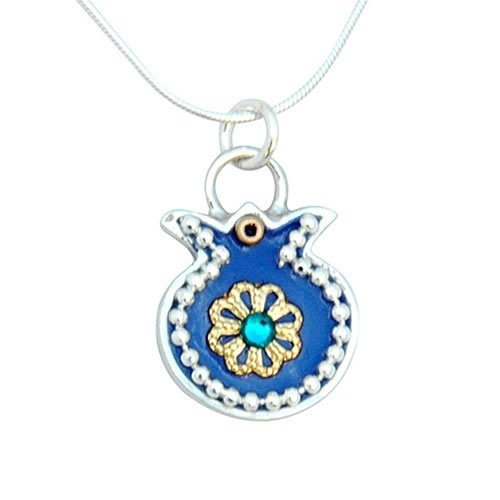 Blue Pomegranate Pendant by Ester Shahaf