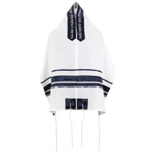 Blue Stripe with Silver Trim on White Tallit Set by Ronit Gur