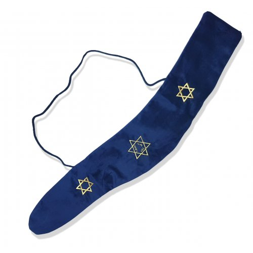 Blue Velvet Yemenite Shofar Bag, Star of Davids - for Shofar 36 to 46 inches