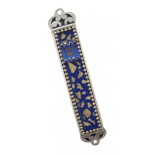 Blue and Gold Mezuzah Case by Iris