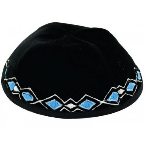 Blue-White Geometric Border Velvet Kippah