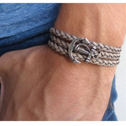 Braided Gray Leather Men's Wrap Bracelet with Anchor Design