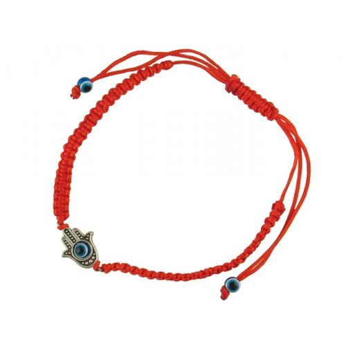 Braided Red Cord Kabbalah Bracelet, Filigree Hamsa with Moveable Eye - Silver