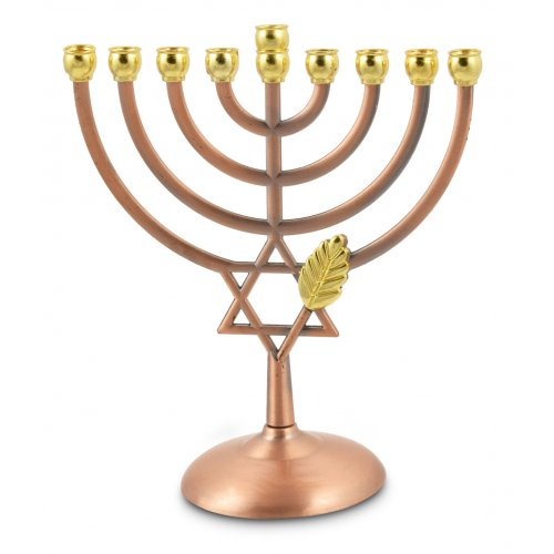 Bronze Color Chanukah Menorah with Star of David and Leaf Design - 7 Inches