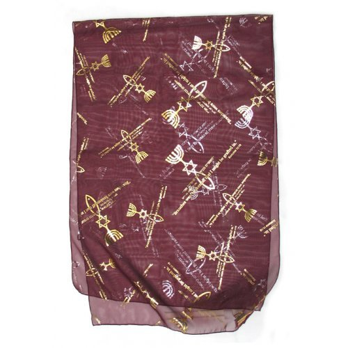 Burgundy Woman's Head Covering Scarf - Fish design