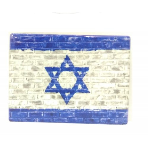 Ceramic Magnet - Painted Israel Flag Design