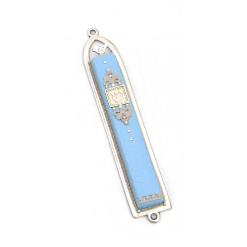 Classic Light Blue Dove Mezuzah by Ester Shahaf