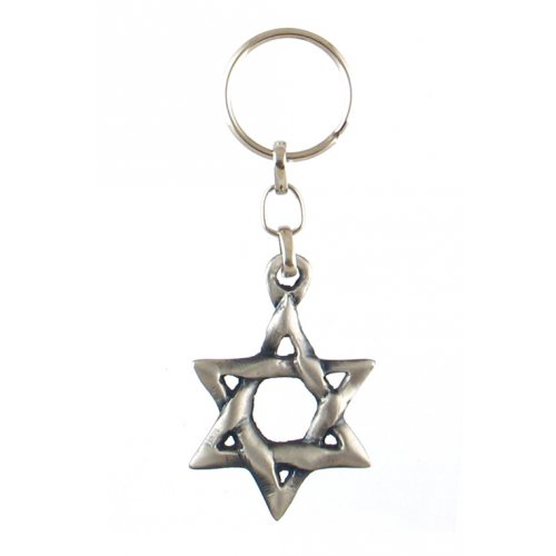 Classic Pewter Star of David Keychain
