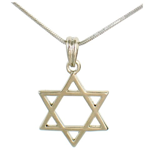 Classic Rhodium Silver Necklace with Magen David pendant