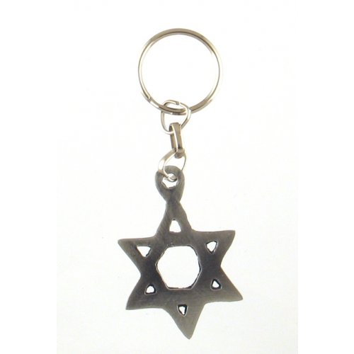 Classic Silver Star of David Keychain - Pewter
