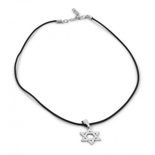 Classic Star of David Necklace on Black Rubber Cord