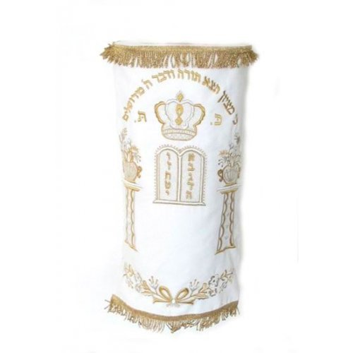 Classic Velvet Torah Mantle – Torah Crown, Tablets and Floral Pillars