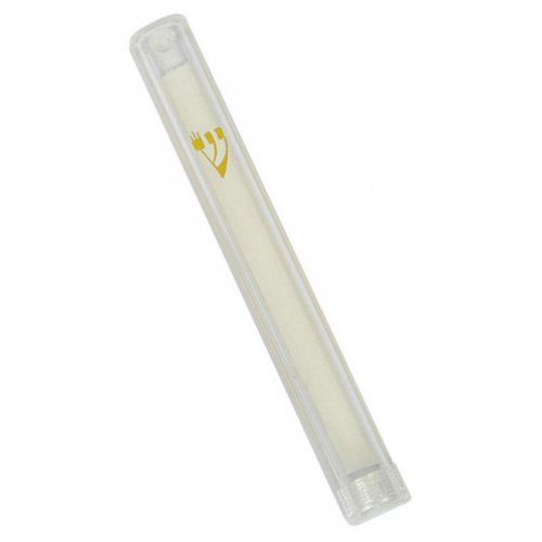 Clear Plastic Lucite Mezuzah Case with Gold Shin