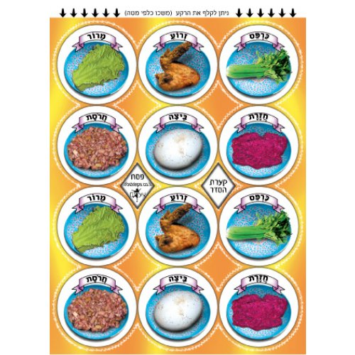 Colorful Childrens Stickers - Pesach Seder Plate Ritual Items