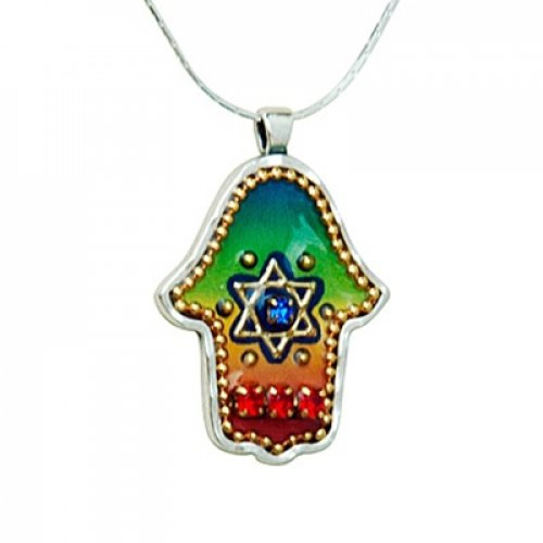 Colorful Hamsa Pendant with Star of David