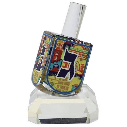 Colorful Jerusalem Design Crystal Dreidel on Base - Nes Gadol Haya Sham