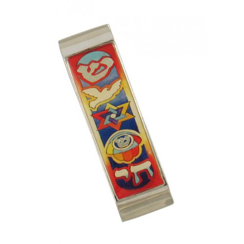 Colorful Judaica Motif Mezuzah