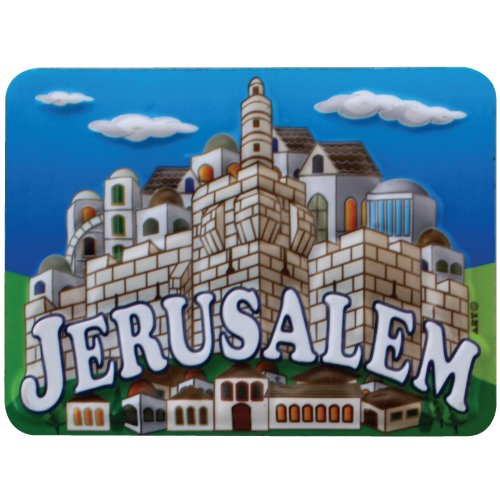 Colorful Plastic Magnet with Images of Jerusalem