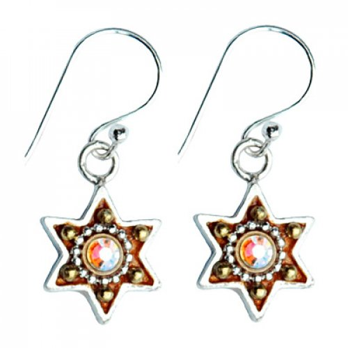 Colorful Silver Star of David Earrings by Ester Shahaf