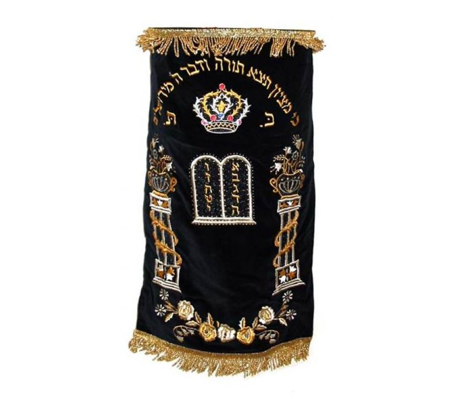 Crown and Flowers Custom Torah Mantle Premium Velvet - Choice of Colors