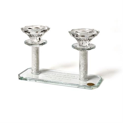Crystal Candlesticks with Candle Lighting Blessing