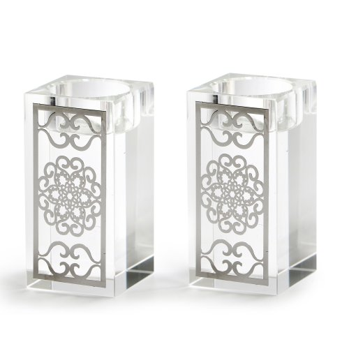 Crystal Candlesticks with Metal Design Overlay - Flowers