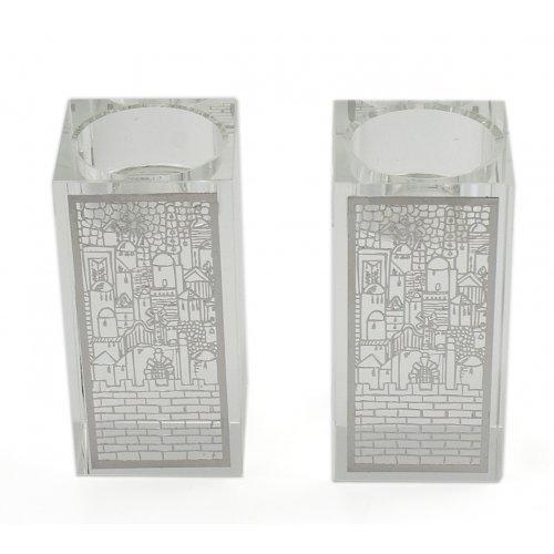 Crystal Candlesticks with Metal Design Overlay - Jerusalem