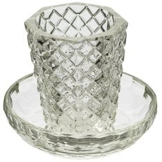 Crystal Glass Kiddush Cup and Saucer - Diamond Design