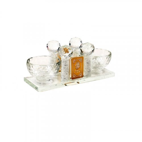 Crystal Salt, Pepper and Toothpick Holder with Gold Decoration