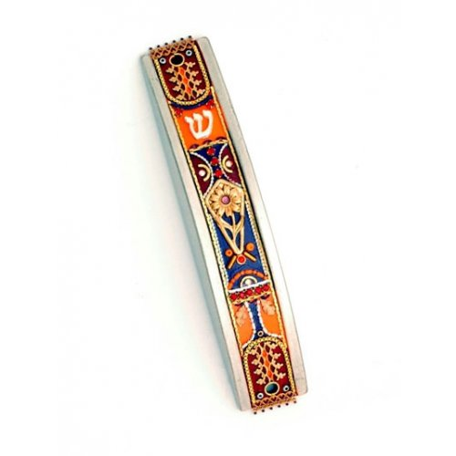 Curved Pewter Mezuzah in Orange and Blue by Ester Shahaf