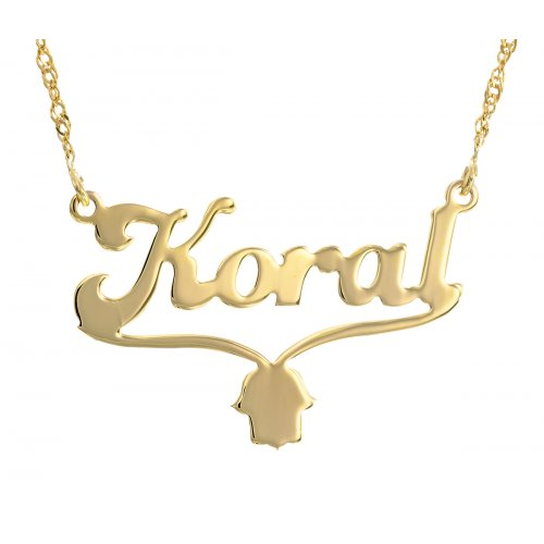 Custom Ensligh Name Necklace with Hamsa 18K Gold Plated Cursive Letters