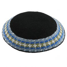 DMC Black Kippah with Gray and White Border Design