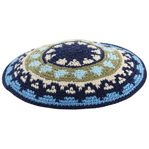 DMC Knitted Kippah with Blue and Green Design