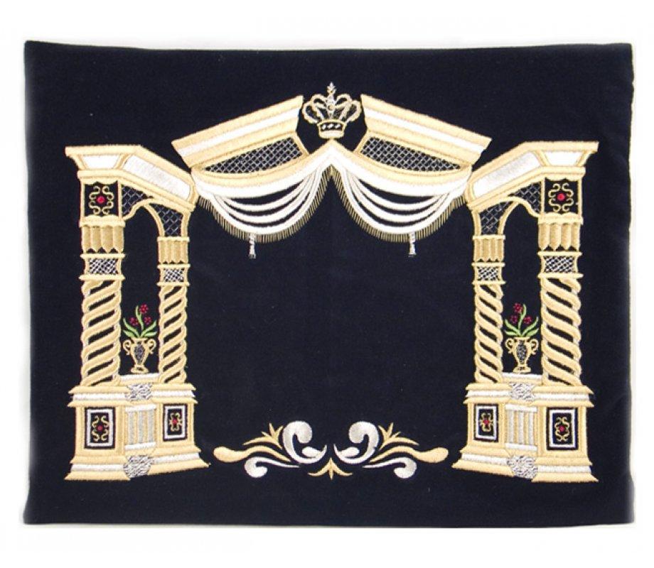 Dark Blue Velvet Tallit Tefillin Bags Gold Vilna Pillars