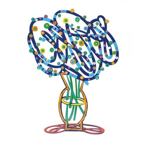 David Gerstein Free Standing Double Sided Flower Sculpture - Blue Bouquet