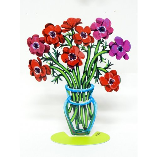 David Gerstein Free Standing Double Sided Flower Sculpture – Poppies Small