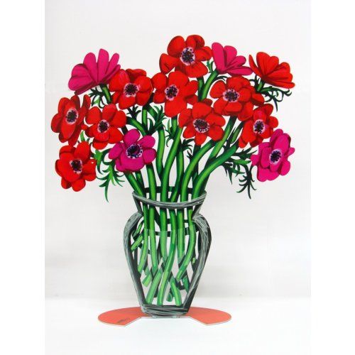 David Gerstein Free Standing Double Sided Flower Vase Sculpture - Poppies Large