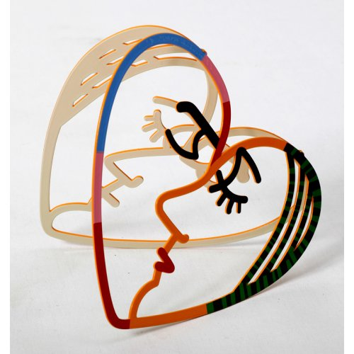 David Gerstein Free Standing Double Sided Heart Sculpture - Face to Face