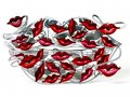 David Gerstein Free Standing Double Sided Lips Sculpture - One Hundred Kisses