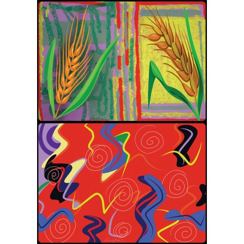 David Gerstein Six Double Sided Placemats - Seven Species and Abstracts