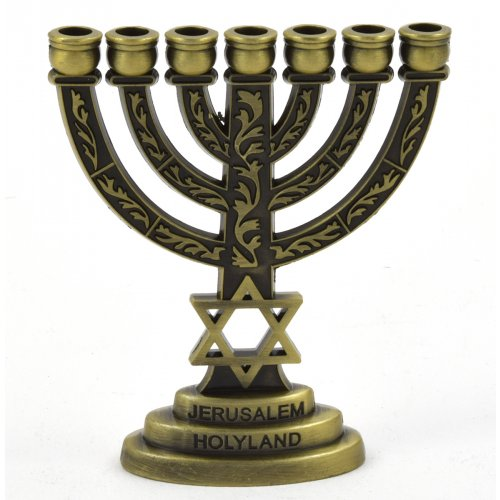 Decorative Classic Star of David Mini 7 Branch Menorah - Bronze