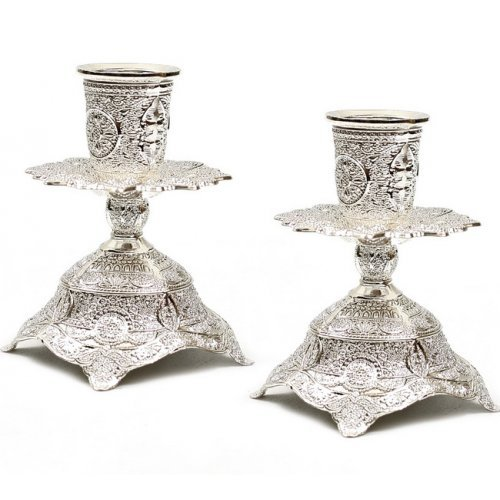 Decorative Filigree Silver Color Candlesticks