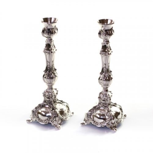 Decorative Silver Plated Candlesticks with Carved Floral Design