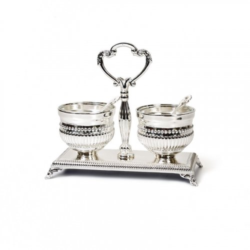 Distinguished Silver-Plated Salt and Pepper Dish