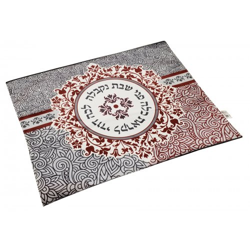 Dorit Judaica Challah Cover - Maroon and Gray Pomegranates with Lecha Dodi Words