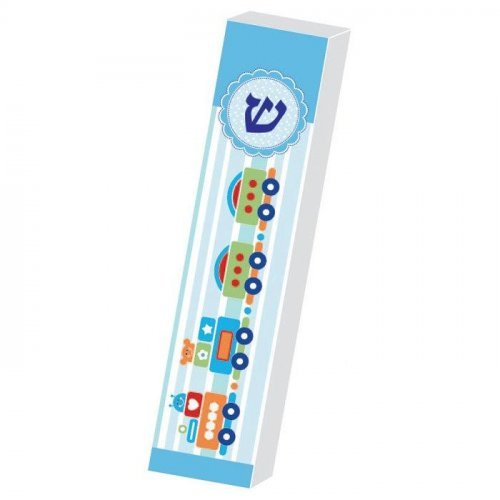 Dorit Judaica Childrens Lucite Mezuzah Case Colorful Print - Chu Chu Train