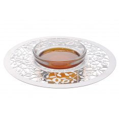Dorit Judaica Engraved Honey Dish with Decorative Lucite Spoon - Pomegranates